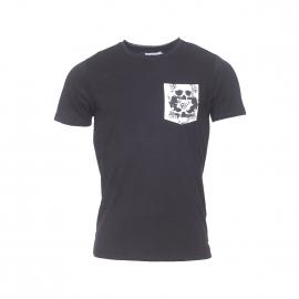 Tee-shirt col rond Jack&Jones en coton noir à poche poitrine imprimée