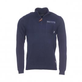 Pull col zippé Jack & Jones en coton bleu marine à poche poitrine