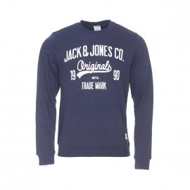 Sweat col rond Jack & Jones bleu marine imprimé