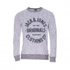 Sweat col rond Jack & Jones gris clair chiné imprimé