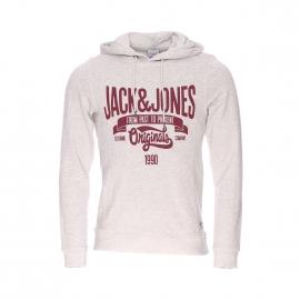 Sweat à capuche Jack & Jones beige imprimé en bordeaux
