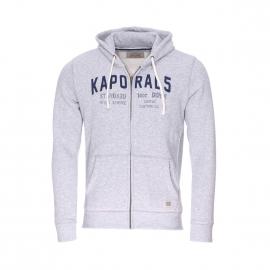 Sweat à capuche zippé Kaporal gris chiné brodé