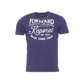 Tee-shirt col V Kaporal bleu marine imprimé à l'avant