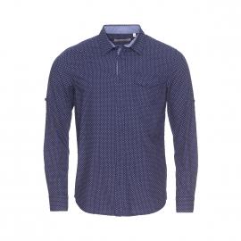 Chemise ajustée Kaporal bleu marine à petits motifs blancs