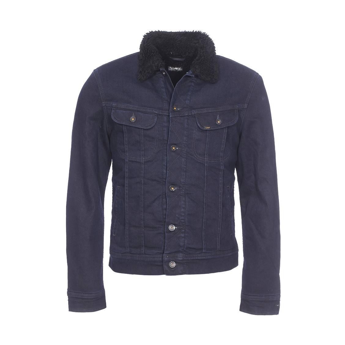 veste en jean lee bleu fonc doublure noire effet peau de mouton rue des hommes. Black Bedroom Furniture Sets. Home Design Ideas