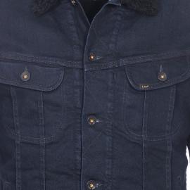 Veste en jean Lee bleu foncé à doublure noire effet peau de mouton