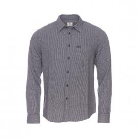Chemise ajustée Lee en coton semi épais gris à petits carreaux gris clair et noirs