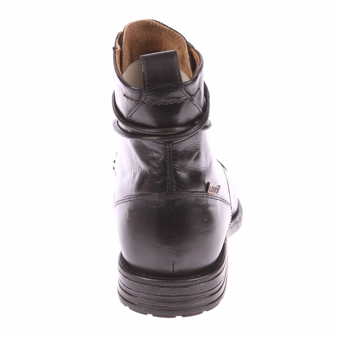 bottines levi 39 s emerson en cuir noir rue des hommes. Black Bedroom Furniture Sets. Home Design Ideas
