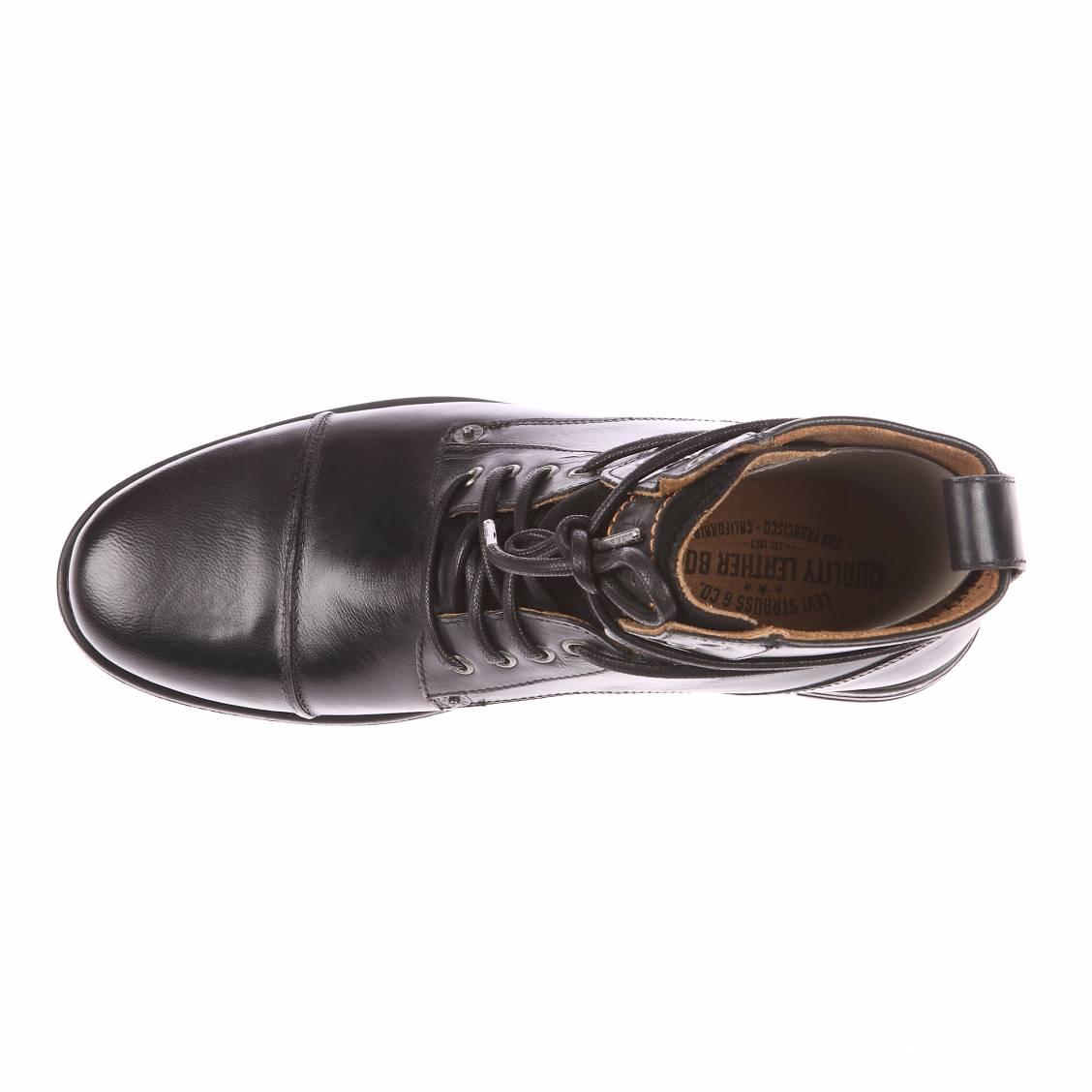 bottines emerson lace up levi 39 s en cuir noir rue des hommes. Black Bedroom Furniture Sets. Home Design Ideas