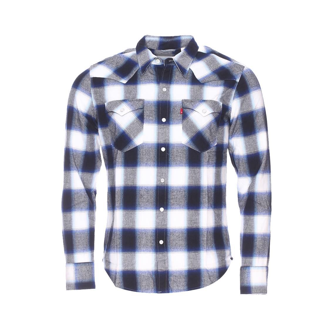 chemise levis carreaux bleu marine blancs et gris style western rue des hommes. Black Bedroom Furniture Sets. Home Design Ideas