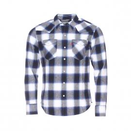 Chemise Levis à carreaux bleu marine, blancs et gris style Western