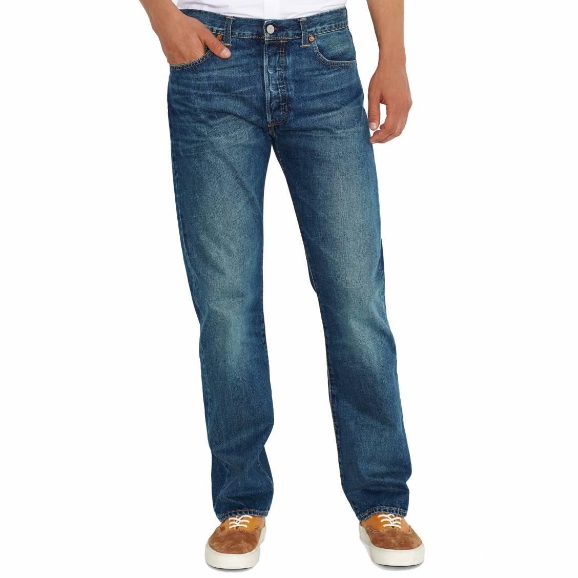Jean Levi's 501 Original Fit Hook. JeanLevi's®- Coton (100%)- Teinte Bleue- 5 poches et 1 poche ticket- Braguette boutonnée à