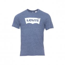 Tee-shirt col rond Levi's bleu chiné floqué du logo en blanc