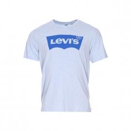 Tee-shirt col rond Levi's bleu clair chiné floqué du logo en bleu