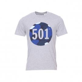 Tee-shirt col rond Levi's gris chiné floqué motif camouflage
