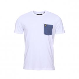 Tee-shirt col rond Lyle & Scott en coton blanc à poche poitrine bleu jean