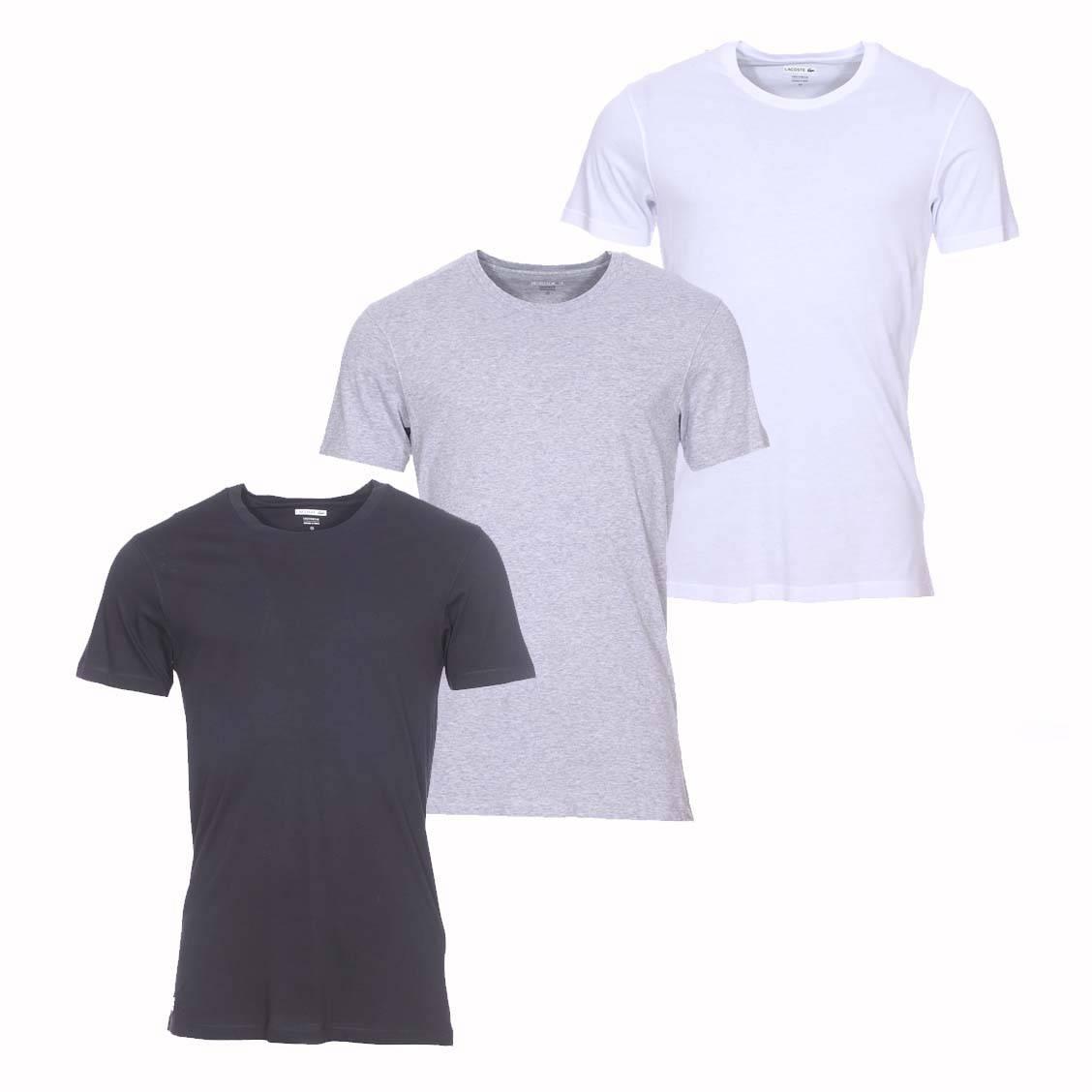 lot de 3 tee shirts col rond lacoste essentiels 100 coton. Black Bedroom Furniture Sets. Home Design Ideas