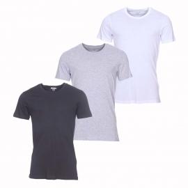 Lot de 3 tee-shirts col rond Lacoste Essentiels 100% coton supima blanc, noir et gris chiné