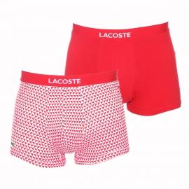 Lot de 2 boxers Colours Lacoste blanc à losanges rouges et uni rouge