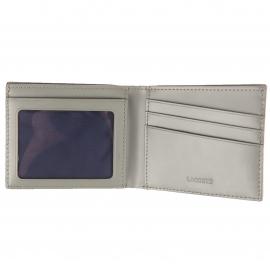 Petit portefeuille West Lacoste format italien en cuir lisse gris béton