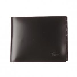 Petit portefeuille West Lacoste en cuir lisse noir