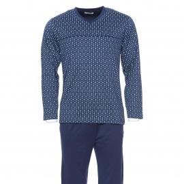 Pyjama long Mariner en coton mercerisé : tee-shirt col V bleu marine à petits motifs bleus et pantalon uni bleu marine