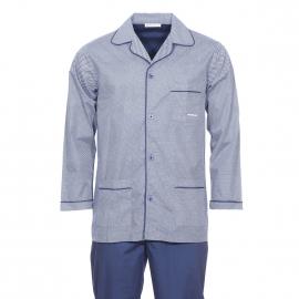 Pyjama long Mariner en popeline de coton : veste boutonnée bleu marine à motifs blancs et pantalon bleu marine