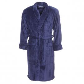 Robe de chambre col châle Mariner en polaire bleu marine