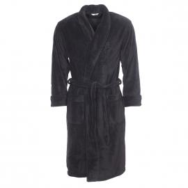 Robe de chambre col châle Mariner noire en polaire
