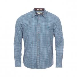Chemise droite MCS à carreaux bleu turquoise, gris et blancs
