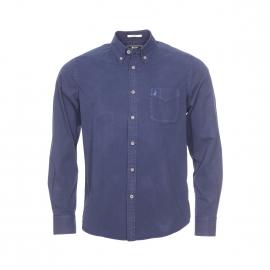 Chemise droite MCS en coton bleu marine