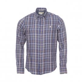 Chemise droite MCS en flanelle de coton à carreaux bleu marine, marron, beige et blancs