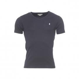Tee-shirt col V MCS en coton noir