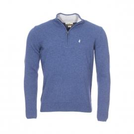 Pull col zippé MCS en laine bleu chiné