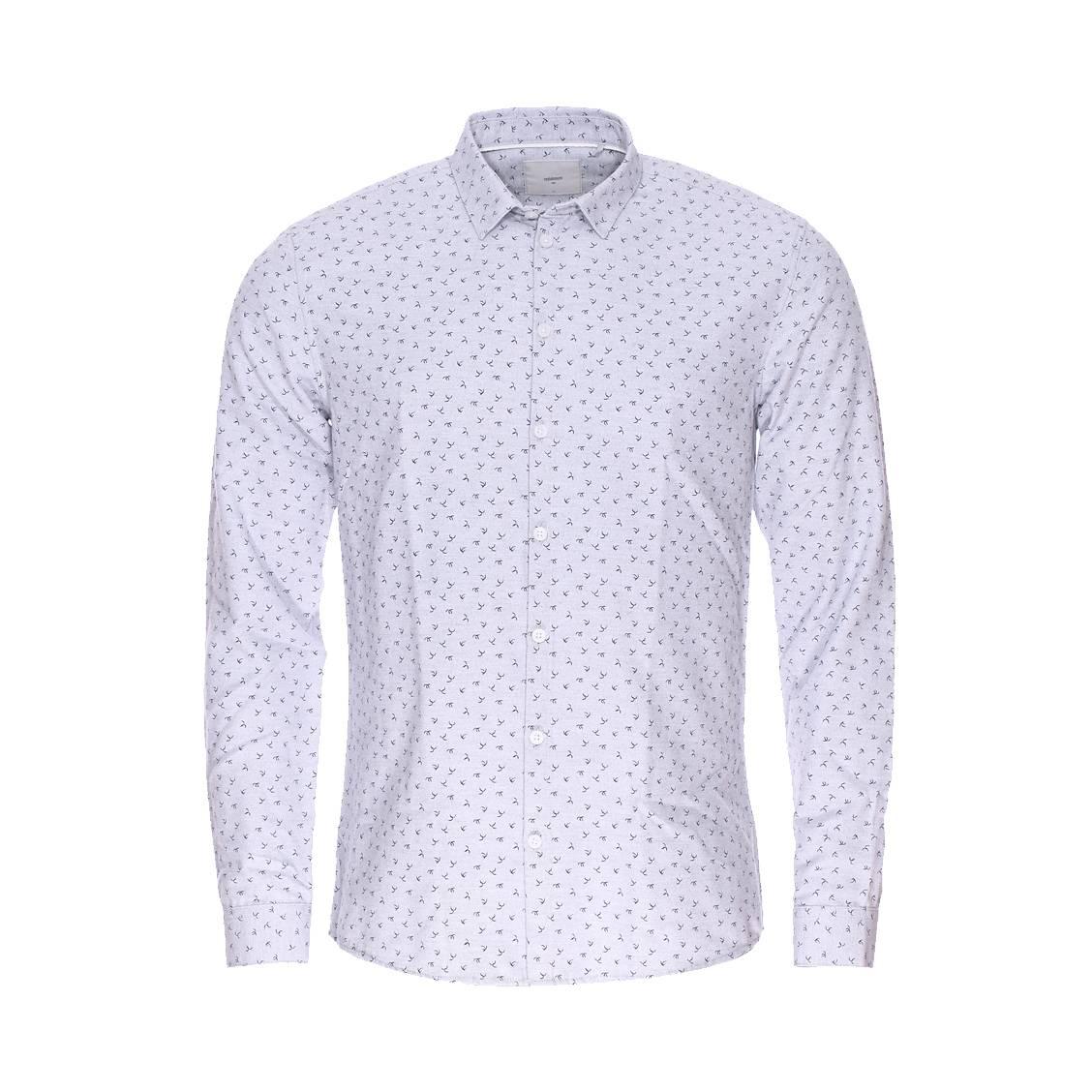 Chemise ajustée Minimum gris clair à petits motifs bleu marine