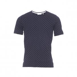 Tee-shirt col rond Delta Minimum en coton bleu marine à motifs flèches blanches