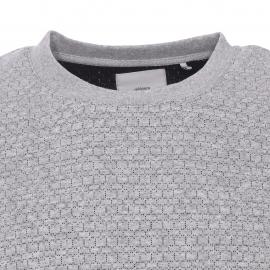 Pull léger col rond Minimum gris clair à motifs petits carrés