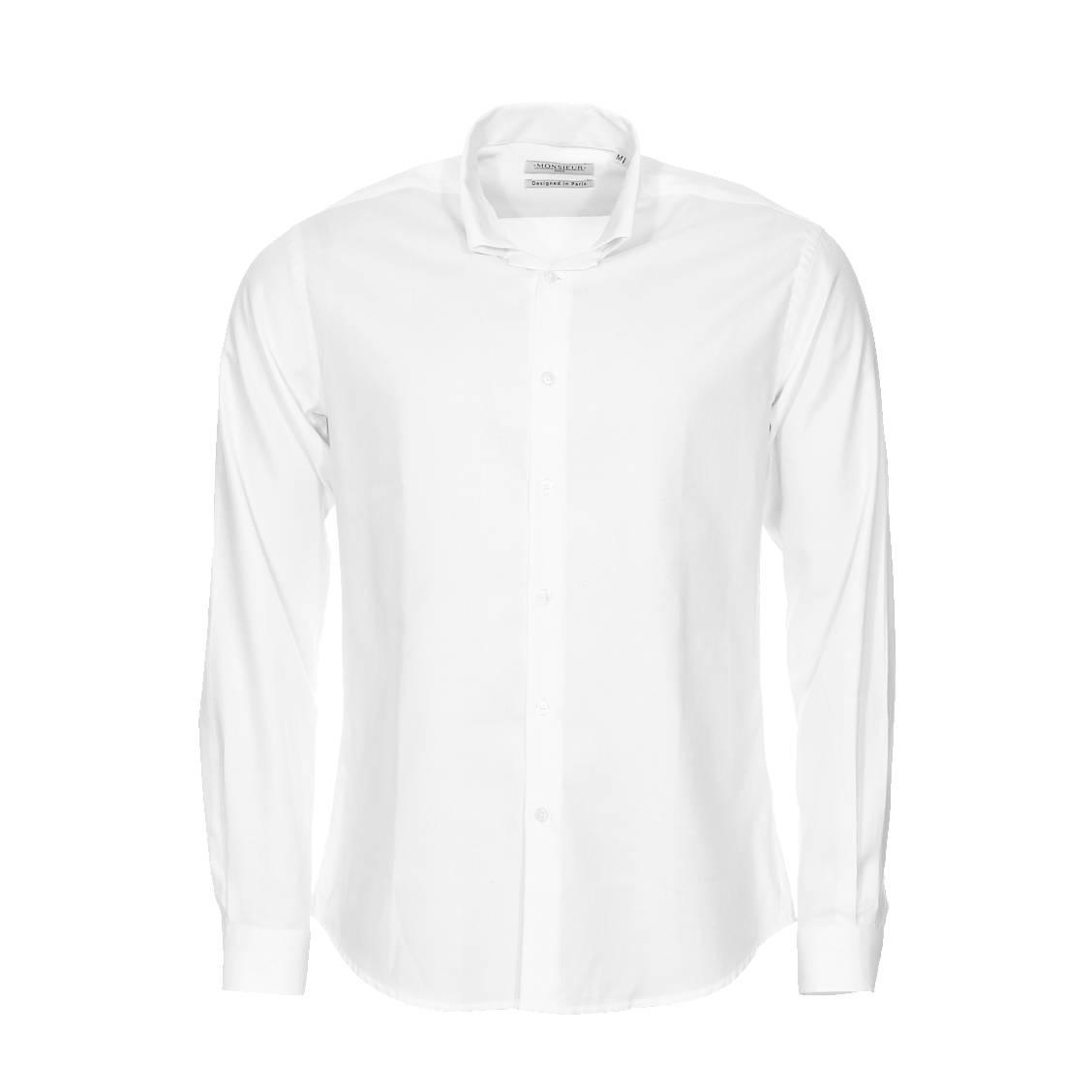 chemise droite monsieur paris en oxford blanc col invers rue des hommes. Black Bedroom Furniture Sets. Home Design Ideas