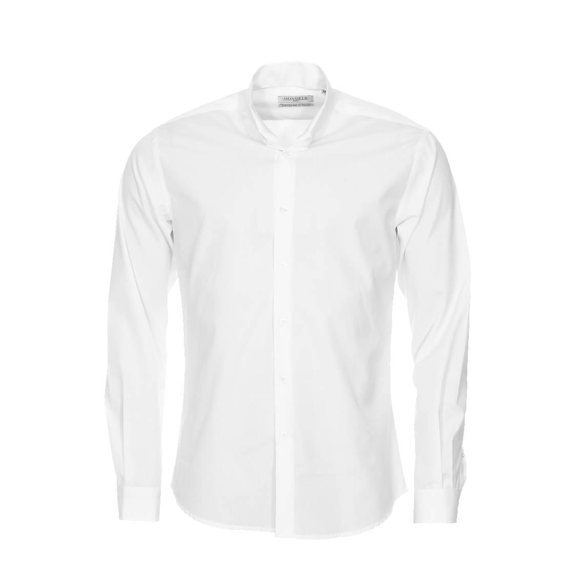 chemise droite monsieur paris en popeline blanche col invers rue des hommes. Black Bedroom Furniture Sets. Home Design Ideas