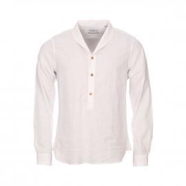 Chemise droite Monsieur Paris en lin et coton crème à col châle