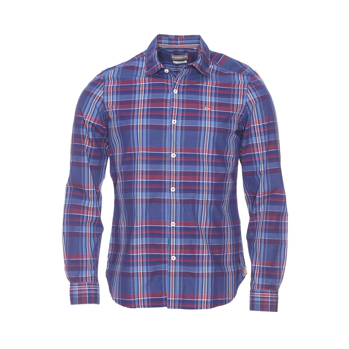 Chemise cintrée  gevi en coton à carreaux bleus, bleu marine, bordeaux, blancs et orange