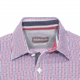 Chemise cintrée Napapijri en coton à carreaux bleu marine, rouges, blancs et à petits motifs losanges bleu marine