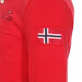 Polo manches longues Elbas Napapijri en coton stretch rouge à maille piquée