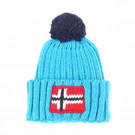 Bonnet à revers Napapijri en laine et alpaga à mailles bleu turquoise