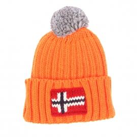 Bonnet à revers Napapijri en mailles tricotées orange fluo et à pompom gris