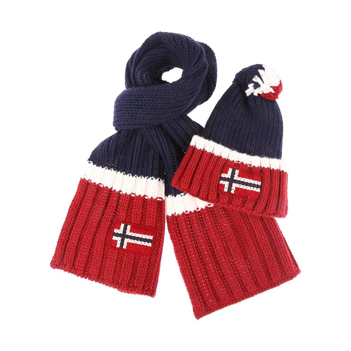 Coffret  : bonnet et écharpe en laine vierge et alpaga bleu marine à rayures bordeaux et blanches