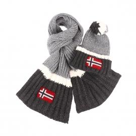 Coffret Napapijri : bonnet et écharpe en laine vierge et alpaga gris clair à rayures gris anthracite et blanches