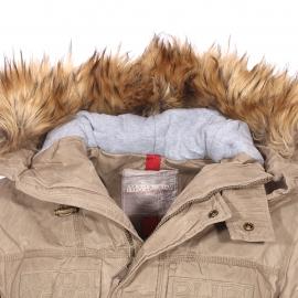 Parka à capuche à fourrure amovible Skidoo Open Max Napapijri en tissu ciré beige effet vintage
