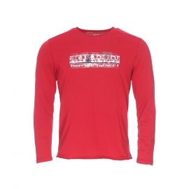 Tee-shirt manches longues Napapijri en coton rouge imprimé