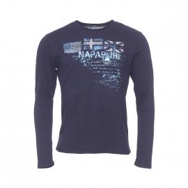 Tee-shirt manches longues Napapijri en coton bleu marine imprimé